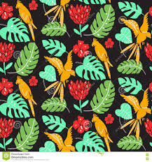 Hawaiian Pattern Interesting Hawaiian Pattern With Parrots Palm Leaves And Hibiscus Flowers