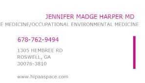 1699890954 NPI Number | JENNIFER MADGE HARPER MD | ROSWELL, GA | NPI  Registry | Medical Coding Library | www.HIPAASpace.com © 2020