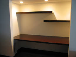 diy computer desk with floating viewing gallery interior decorations smart ceiling lights on woods brown color