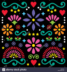 Mexican Pattern Cool Mexican Folk Art Vector Pattern Colorful Design With Flowers