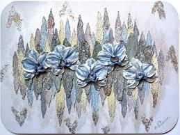 3d flower wall sculpture with blue