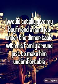 Hand job at dinner