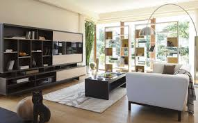 Living Room:Contemporary Open Living Room With Black Wall Units And Storage Room  Divider Contemporary