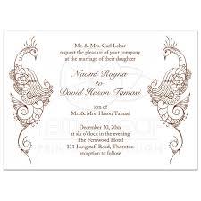 Wedding Invitation Elegant Mehndi Peacock In White