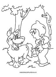 Kleurplaat Roodkapje Wolf Bos Algemeen