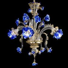 manin murano glass chandelier 3 lights transpa gold and blue color