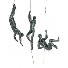 abseiling men trio bronze wall decor set of 3