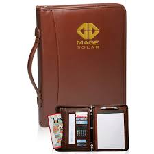 brown leather binder portfolios