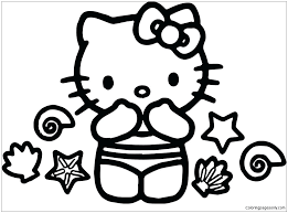 Twin hello kitty coloring paged5bf. Hello Kitty Summer 1 Coloring Pages Cartoons Coloring Pages Free Printable Coloring Pages Online