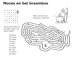 Mozes En Het Brandende Braambos Bibliai Puzzle Word Search En Words