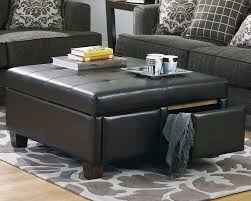 furniture leather coffee table ottoman ideas black square
