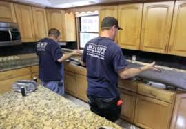 experienced stone installers complete the granite installation
