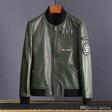 new mens luxury designer leather jacket army green winter outdoor sheepskin leather jackets for men mens us air force er jacket jackets styles denim