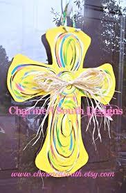 painted wooden door hangers yellow and swirl wood cross door hanger by on hand painted wood door hangers for easter
