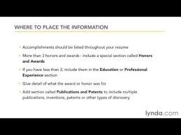 Awards Resume Creating An Effective Resume Including Awards Honors And Other Information