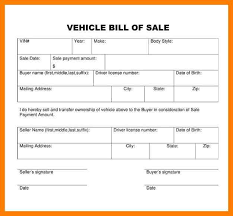 Bill Of Sale Form Template Printable Vehicle Bill Of Sale Bill