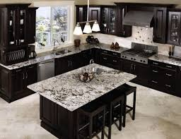 luxury black kitchen cabinet and island set with marble countertops