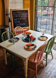 The table is SUPER durable and Dave and I often sit at the little table  with the kids :) And speaking of decorating.