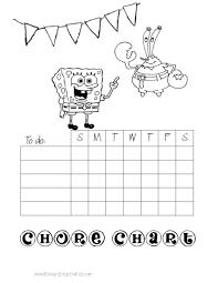 chore charts for kids mr krabs chore chart
