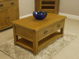 Solid Living Room Furniture Tucan Rustic Oak 2 Drawer Coffee Table With Shelf Solid Living