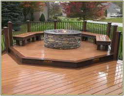 gas fire pit on wood deck outdoor decking decor