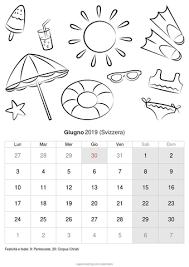 Calendario Giugno 2019 Da Stampare Svizzera