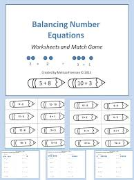 a balancing number equations game and worksheets second grade