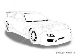 スポーツカー 自動車 乗用車 白黒のイラスト素材 Pixta