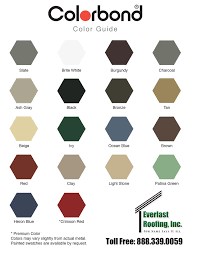 Bluescope Color Chart Colorbond Paint System Everlast Roofing Inc