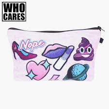 2019 whole nope cute patch 3d printing makeup bag 2016 who cares trousse de maquillage women toiletry bag travel pencil bags neceser from universe222