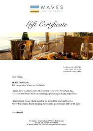 waves restaurant online gift vouchers melbourne mornington gift certificate example