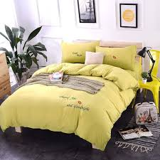 spring washed cotton princess wind embroidery bright yellow bedding sets duvet cover set bed sheet pillowcase