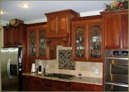 kitchen rectangle dark brown textured wood modern island glass front kitchen cabinets simple white bar