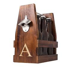 personalized rustic wooden six pack beer carrier with bottle opener