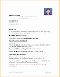 Cv Format For Airlines Job 1 Year Experience Resume Format For Networking