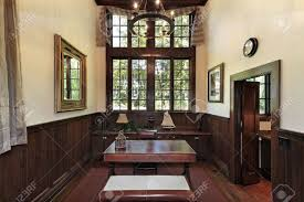 office paneling. Office In Luxury Home With Dark Wood Paneling Stock Photo - 6740294 E