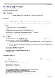 Resume (Chemical Engineer). Page 1 of 2 R E S U M E MUHAMMAD ZEESHAN AMJAD  69-B Marghazar Colony Multan Road Lahore ...