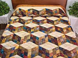 Tumbling Blocks Quilt -- outstanding well made Amish Quilts from ... & Hand Painted Tumbling Blocks Quilt Photo 1 ... Adamdwight.com