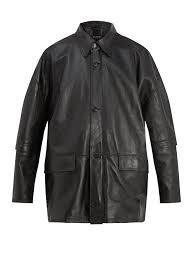 balenciaga oversized leather jacket black heavyweight calf leatherpoint collar long detachable zip fastening sleeves 1191022