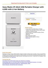 Sony Media Cp A2ls Usb Portable Charger With 4 000 Mah Li