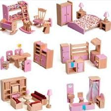 dolls furniture set. 6 Styles Wooden Dollhouse Furniture Set , Kid Room Bedroom Miniature Construction Toys Free Shipping Dolls N