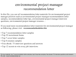 Letter Of Recommendation For Project Manager Environmental Project Manager Recommendation Letter