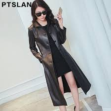 2019 ptslan real leather jacket women spring slim genuine outerwear long women leather trench coat female p2848 from vanilla01 410 96 dhgate com