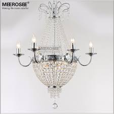 meerosee french empire crystal chandelier light fixture vintage crystal lighting wrought iron white chrome black color md8908 l9 chandeliers wrought iron