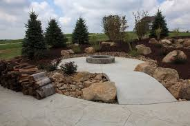 concrete patio with fire pit. Rustic Stamped Concrete Firepit Patio With Fire Pit I