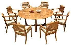 9 piece outdoor teak dining set 72 round table 8 arbor stacking arm chairs transitional outdoor dining sets by teak deals
