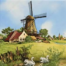 windmill swan tile 15x15 cm color