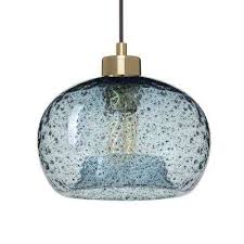 Rustic glass pendant lighting Dining Table 1light Brass Rustic Seeded Hand The Home Depot Blue Pendant Lights Lighting The Home Depot