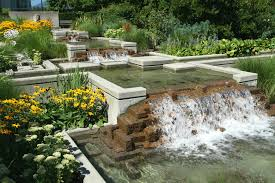 Decorations:Awesome Waterfall Pond Garden Design With Concrete Brick  Material Awesome Waterfall Pond Garden Design