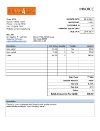 invoice templates for word excel and open office invoice template version 2